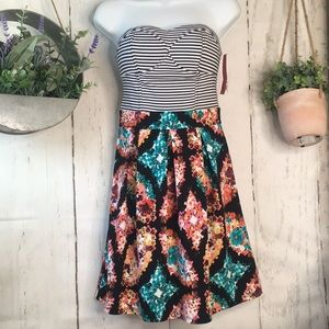 Xhiliration Striped Floral Dress Fit and Flare
